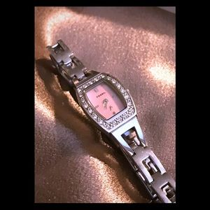 Women's Silver Fossil Watch with Pink face W/BLING